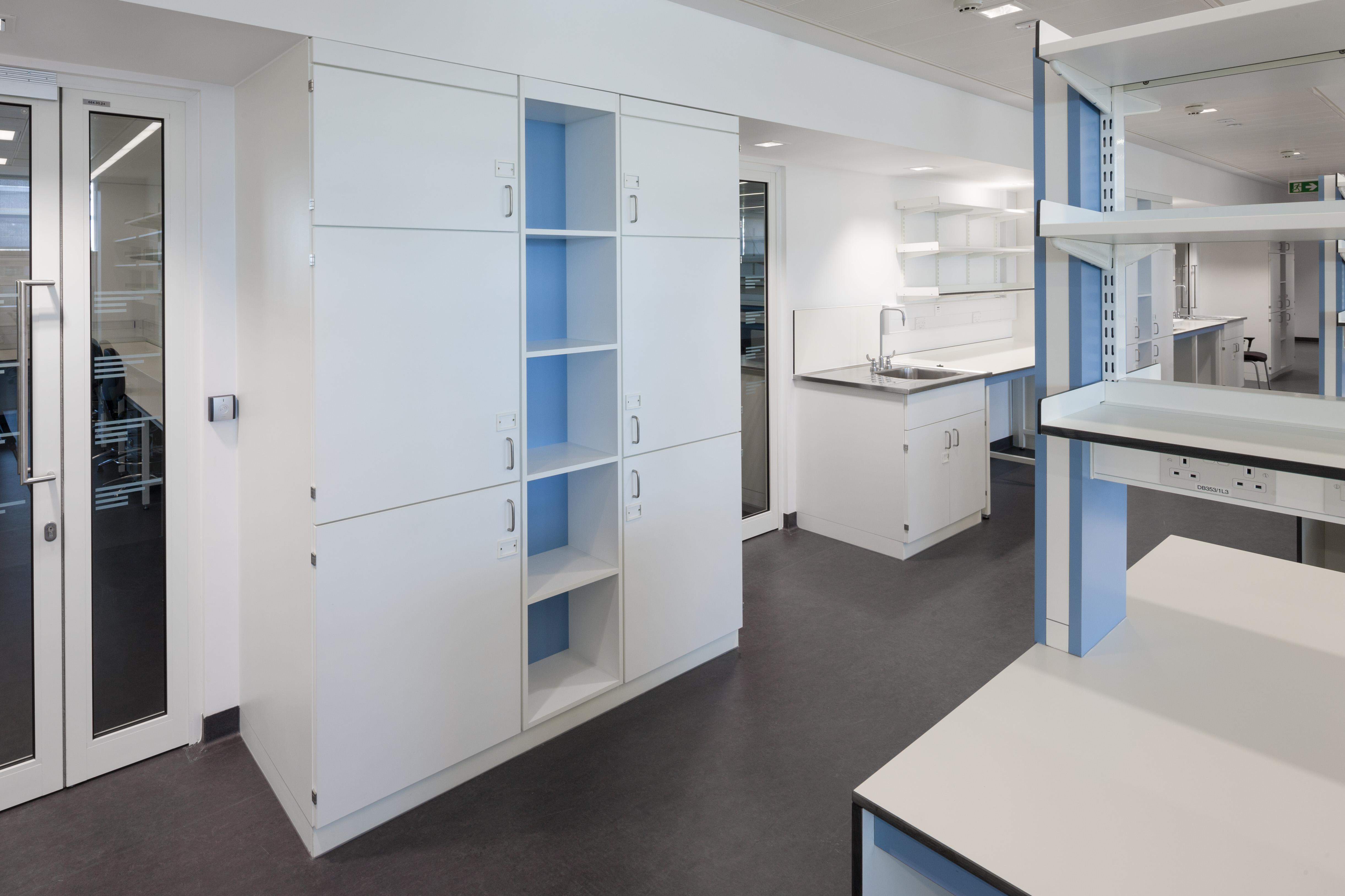 W.E. Marson fixed storage laboratory furniture