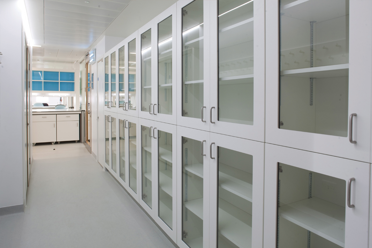 Glass fronted tall storage units.